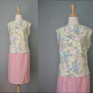 Vintage Two Piece dress Floral and Pink 60s dress